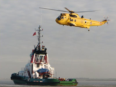 MT STANFORD participating in Emergency Evacuation Training with the RNLI, 2011